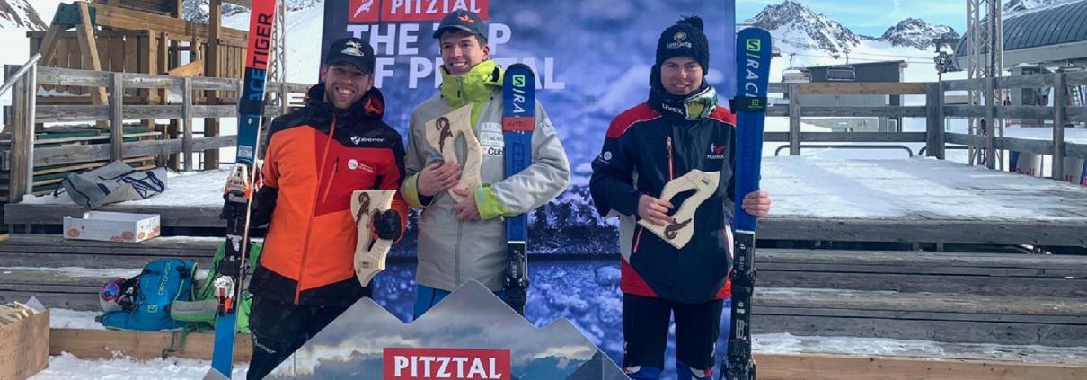 Jules sur le podium en coupe d'Europe (Pitztal 2019)