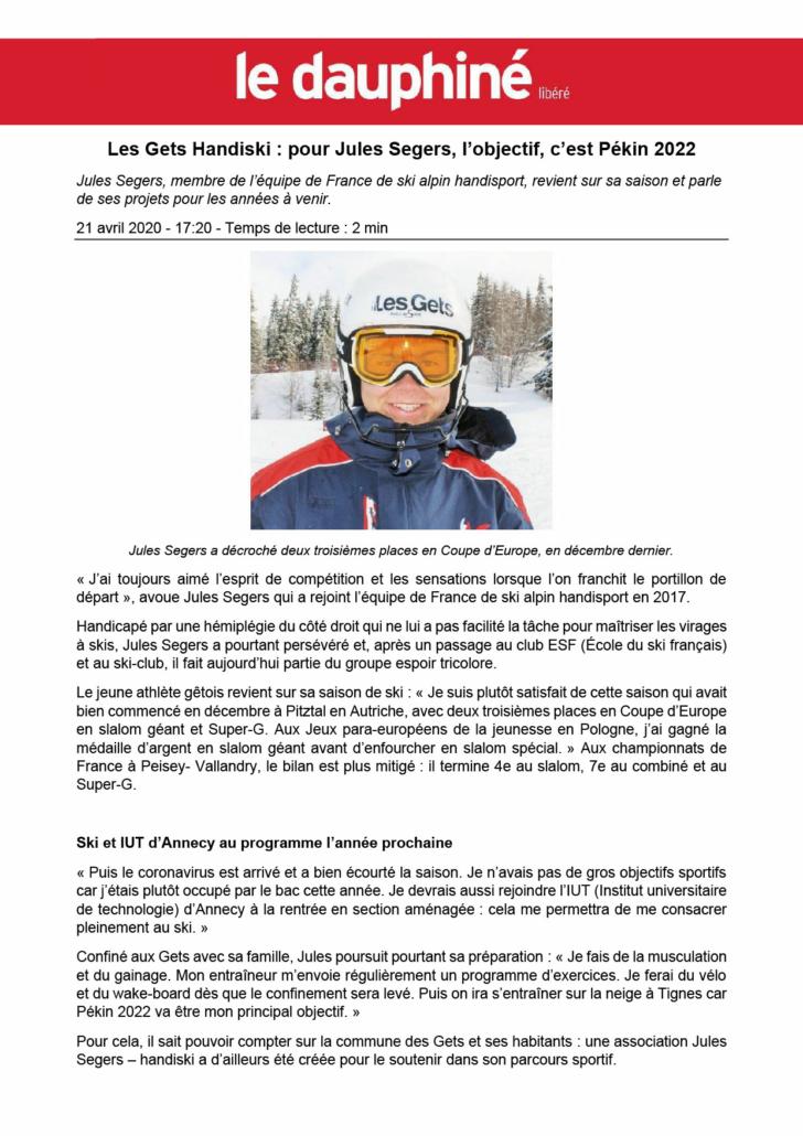Article Dauphiné Libéré - Printemps 2020